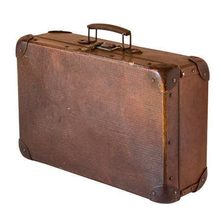 Old shabby vintage suitcase isolated on white background. Retro style Reklamní fotografie