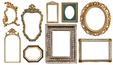 Set Vintage frames with an ornament isolated on white. Retro style.