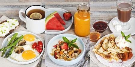 Drei Frühstücke. Spiegeleier mit Tee, Müsli mit Saft und Pfannkuchen mit Kakao.