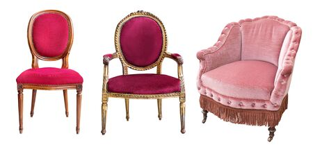 Three gorgeous vintage armchairs isolated on white background. Chairs with red and rose upholstery