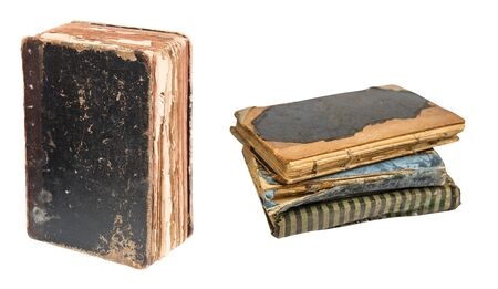 Vintage old books isolated on white background. Old Library