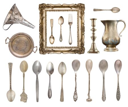 Set of vintage beautiful items. Silverware, frame, kettle, funnel and more  isolated on white background. Stockfoto