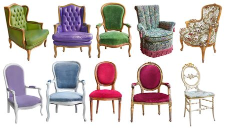 Three gorgeous vintage armchairs isolated on white background. Armchairs in different colors. Stockfoto