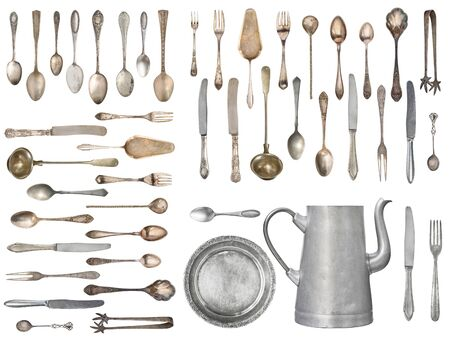 Set of beautiful antique items, old silverware. Retro. Vintage. Isolated on white background.