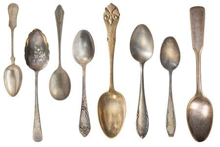 Top view of old silver tea spoon isolated on white. Retro silverware. Stockfoto