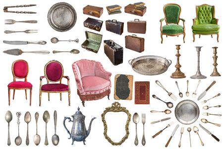 Set of gorgeous old vintage items. Old dishes, appliances, kettles, chairs, books, coffee grinder, candlesticks, picture frames. Isolated on white background.