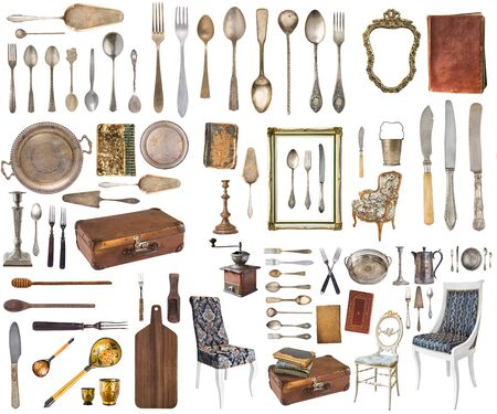 Set of beautiful antique items, picture frames, furniture, silverware. Retro. Vintage. Isolated on white background.