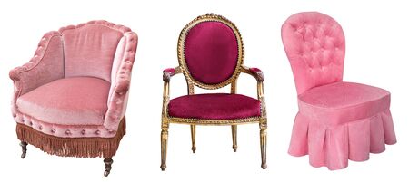 Vintage beautiful pink and red velor armchairs isolated on white background Stockfoto