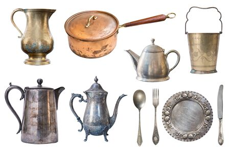 Set of copper and metal vintage cookware isolated on white background
