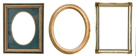 Vintage gilded frames with an ornament isolated on white. Retro style.