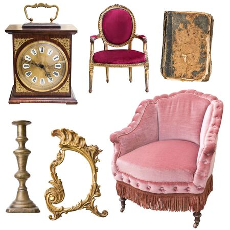 Set of 6 gorgeous old vintage items. Old books, vintage armchairs, tray, jug, picture frame isolated on white background.