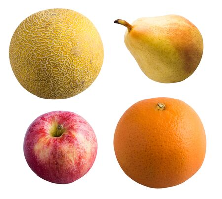 Fruit isolated on a white background. Melon, pear, apple and orange.