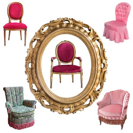 Gorgeous vintage armchairs and picture frame isolated on white background. Armchairs with color, green and purple upholstery