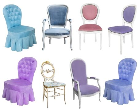 Gorgeous old chairs. Isolated on white background. Retro style. Vintage furniture Banco de Imagens