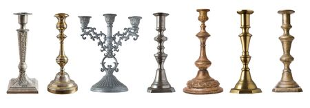 set of vintage different candelabrum, candle stand, candlestick isolated on white background Stock Photo