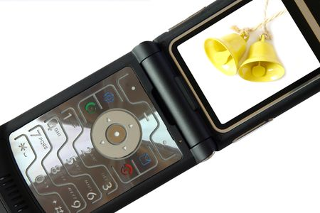 A nice black mobile phone with a bell display Stock Photo - 894124
