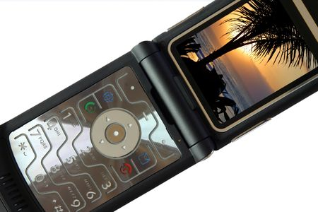 A nice black mobile phone with a beach sunset display Stock Photo - 894130