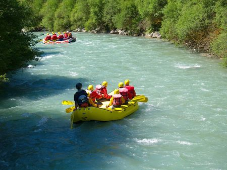 upstream: river rafting        Stock Photo