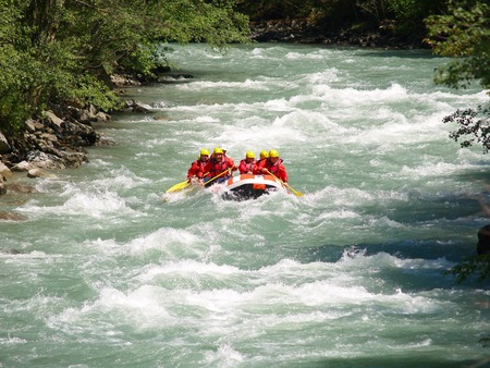 downstream: river rafting          Stock Photo