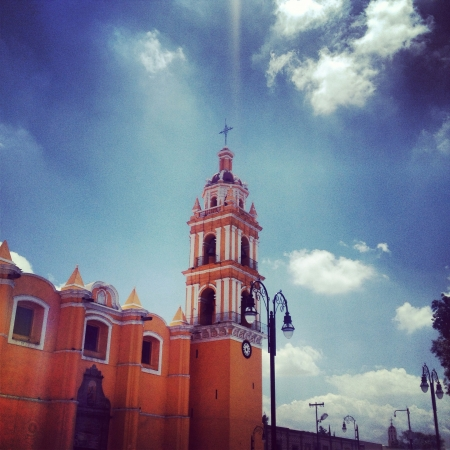 Magic town at cholula... Church at the main plaza