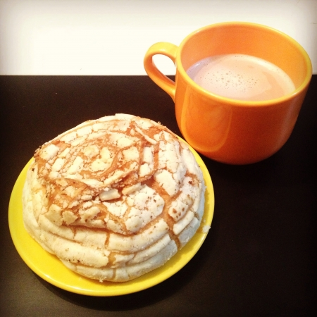 hot chocolate and a shell bread