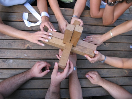 solving problem: Teambuilding, Team, Outdoor Stock Photo