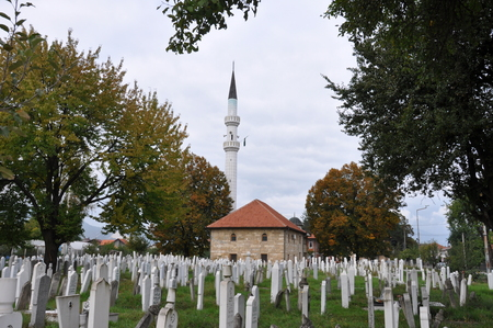 bosnia and hercegovina: Bosna Bosnia Mosque Grave Graveyard Cemetry Town Minaret