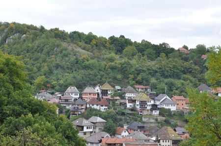 hercegovina: Bosna Bosnia Travnik Old Town Turkish Ancient Hill Tree Green Sky