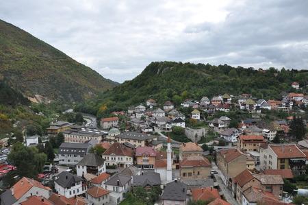 bosnia hercegovina: Bosna Bosnia Travnik Old Town Turkish Ancient Hill Tree Green Sky