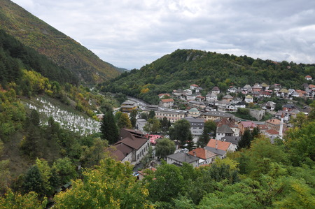 bosna: Bosna Bosnia Travnik Old Town Turkish Ancient Hill Tree Green Sky