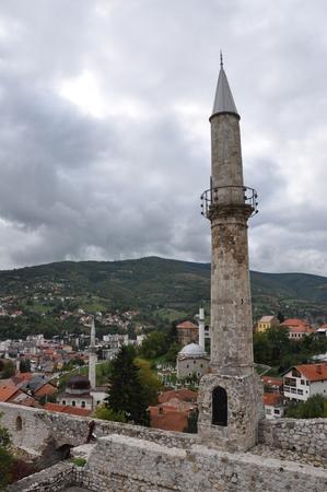 bosna: Travnik Bosnia Bosna Hercegovina Hercegowina Old Town Mosque Hill Stock Photo