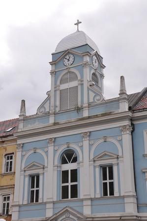 bosna: Bosna Bosnia Clock Tower Travnik School Center Catholic Stock Photo