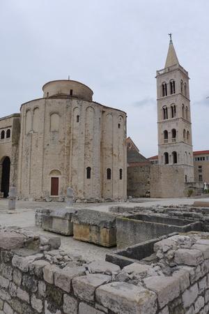 dalmatia: Square with Church and Tower in Zadar Zara Croatia Hrvatska Dalmatia Dalmacija