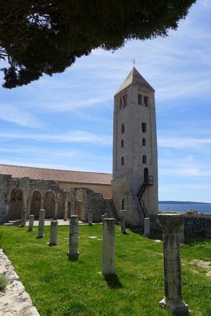 Church park in Rab Saint Ivan Evangelist Arba Croatia