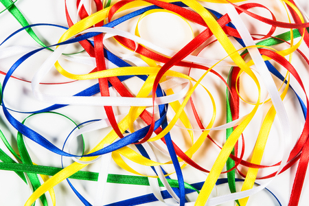 taping: Many color ribbons on white background