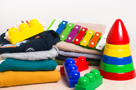Kids clothes and different toys
