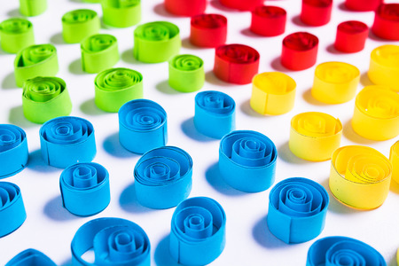 Quilling art. Color paper curls on the white background Stock Photo - 78144526