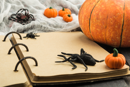 Open vintage notebook with spiders and pumpkin decoration over wooden background