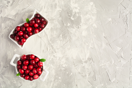 Cranberry in white ceramic saucepan over cement background with copy space
