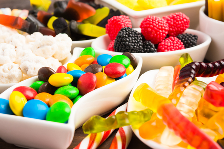 Closeup view of colorful candies, selective focus