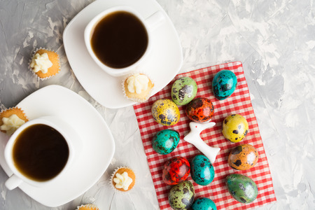 Easter food concept with hare in focus, overhead view Stock Photo