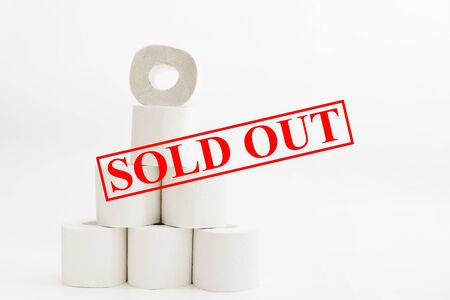 Sold out of toilet paper with rolls on white background. Shopping concept for quarantine