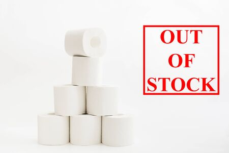 Out of stock toilet paper rolls. Funny situation in coronavirus quarantine. Pyramid of toilet paper. Text for shop. Cleaning concept Stock Photo