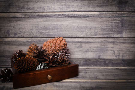 Christmas still life background with cones. Copy space