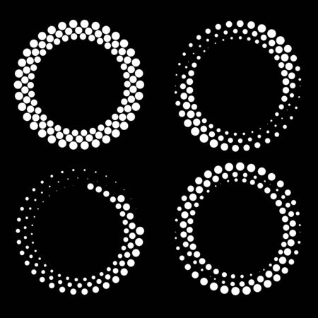 Set of white halftone dots in round form. Geometric art. Design element for border frame, logo, tattoo, sign, symbol, web pages, prints, posters, template, pattern and abstract background Logo