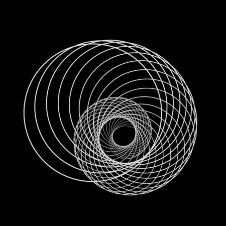 White circle shape in spiral form. Geometric art. Design element for logo, tattoo, sign, symbol, prints, web pages, template, posters, monochrome pattern and abstract background 向量圖像