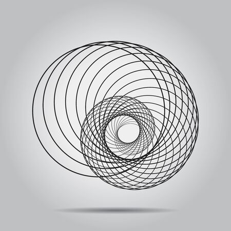 Black circle shape in spiral form. Geometric art. Design element for logo, tattoo, sign, symbol, prints, web pages, template, posters, monochrome pattern and abstract background