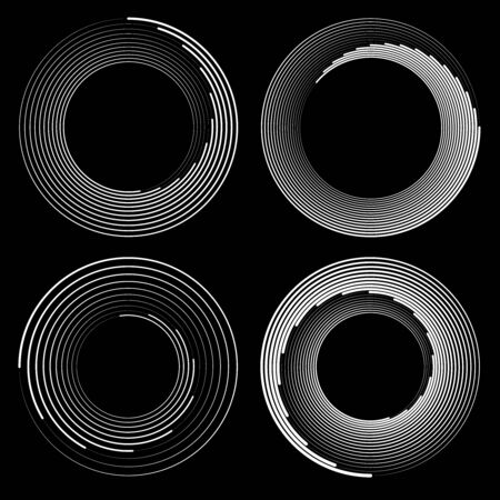 Set of white speed lines in circle form. Geometric art. Design element for border frame, logo, tattoo, sign, symbol, web pages, prints, posters, template, pattern and abstract background