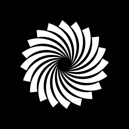 White vector shape in spiral form. Geometric art. Design element for logo, border frame, sign, symbol, prints, web pages, template, tattoo, posters, monochrome pattern and abstract background 向量圖像
