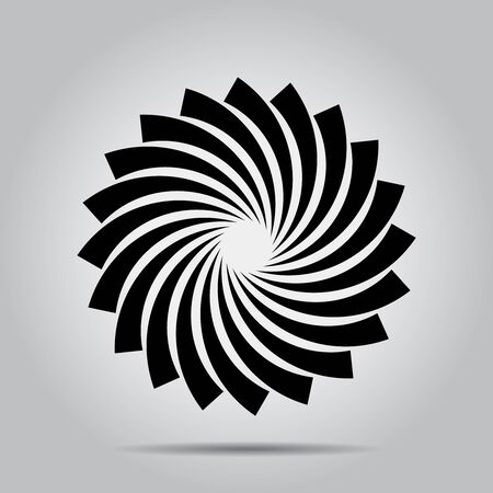 Black vector shape in spiral form. Geometric art. Design element for logo, border frame, sign, symbol, prints, web pages, template, tattoo, posters, monochrome pattern and abstract background 向量圖像